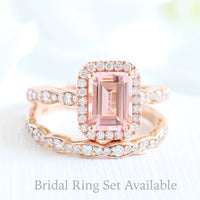 Emerald cut peach sapphire ring bridal set in rose gold halo diamond by la more design