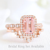 Emerald cut peach sapphire ring curved diamond band bridal set in rose gold by la more design