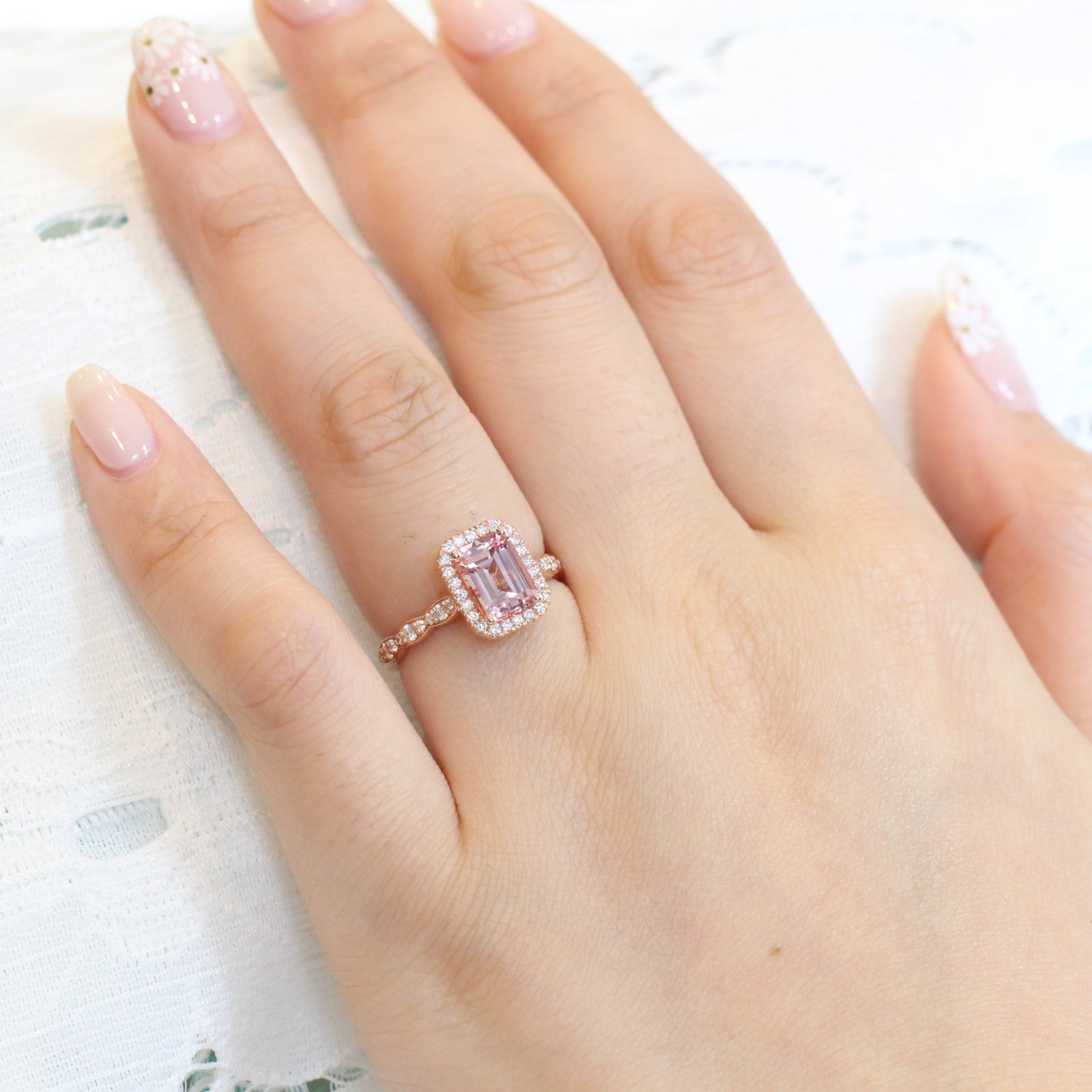 Details about  /2.15 Carat Cushion Cut Peach Sapphire Halo Engagement Ring 14K Rose Gold Plated