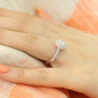 GIA diamond vintage floral engagement ring in 18k white gold by la more design