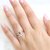 salt and pepper diamond ring and 7 stone diamond wedding band in rose gold halo bridal ring set by la more design jewelry