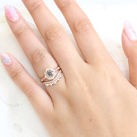 Grey salt and pepper diamond ring and curved crown diamond wedding band in rose gold vintage floral bridal ring set by la more design jewelry