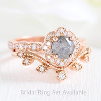 Grey diamond ring and curved leaf diamond wedding band in rose gold vintage floral bridal ring set by la more design jewelry