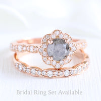 Grey diamond ring and matching diamond wedding band in rose gold vintage floral bridal ring set by la more design jewelry