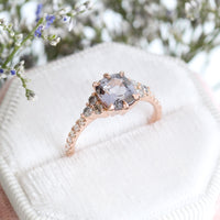 Custom Cushion Grey Spinel Ring in 14k Rose Gold 3 Stone Diamond Ring, Size 7