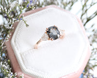 Grey Spinel Cushion Engagement Ring in Rose Gold 3 Stone Diamond Ring by La More Design Jewelry