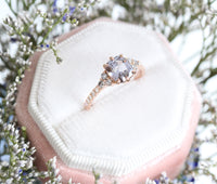 Grey Spinel Diamond Engagement Ring in Rose Gold 3 Three Stone Ring by La More Design Jewelry