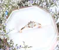 Grey and Icy White Diamond Engagement Ring in Rose Gold 3 Stone Diamond Ring by La More Design Jewelry