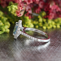 Natural Aqua Blue Sapphire Engagement Ring in 14k White Gold Halo Diamond, Size 6