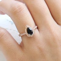 Halo black diamond pear engagement ring rose gold vintage floral ring by la more design jewelry