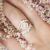 Halo champagne diamond engagement ring stacking set rose gold by la more design jewelry