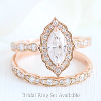 Halo diamond marquise engagement ring rose gold wedding ring bridal set by la more design jewelry