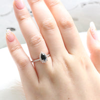 Halo diamond pear engagement ring rose gold black diamond spinel ring by la more design jewelry