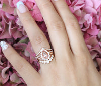 Halo diamond pear morganite engagement ring stacking set rose gold by la more design jewelry