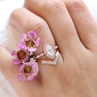 Halo diamond marquise ring rose gold curved V diamond wedding ring bridal set by la more design jewelry