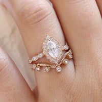 Halo diamond marquise ring rose gold curved diamond wedding ring bridal set by la more design jewelry