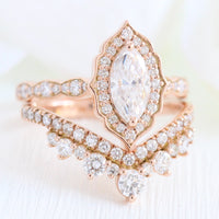 Halo diamond marquise ring rose gold large curved diamond wedding ring bridal set by la more design jewelry