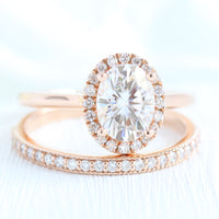 Halo diamond moissanite engagement ring rose gold cluster bridal ring set la more design jewelry
