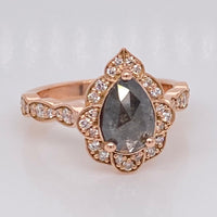 Custom Pear Cut Grey Salt and Pepper Diamond Engagement Ring in 14k Rose Gold, Size 4