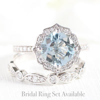 cushion aquamarine ring bridal set in white gold vintage inspired band by la more design