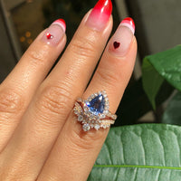 Custom Tiara Halo Diamond Pear Sapphire Engagement Ring and Wedding Band in 14k Rose Gold (2 Rings)