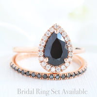 pear black spinel ring bridal set in rose gold halo diamond band by la more design