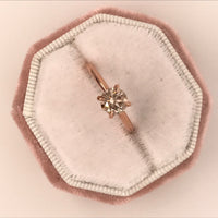 Custom 1.32 Carat Champagne Diamond Engagement Ring in 14k Rose Gold, Size 4.75