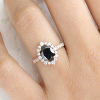 Large Black Diamond Engagement Ring in Rose Gold Halo Diamond Cluster Ring by La More Design Jewelry