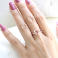 Large Morganite Engagement Ring in Rose Gold Low Profile Solitaire Ring by La More Design Jewelry