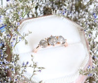 Large Salt and Pepper Grey Diamond Engagement Ring in Rose Gold 3 Stone Diamond Ring by La More Design Jewelry