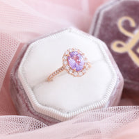 Large lavender purple sapphire engagement ring rose gold in halo diamond cluster ring by la more design jewelry