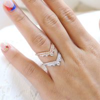 Large diamond wedding ring white gold curved pave diamond band by la more design jewelry