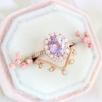 Large lavender purple sapphire engagement ring rose gold stacking ring bridal set la more design jewelry
