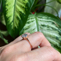 Large salt and pepper grey diamond ring rose gold 3 stone ring la more design jewelry