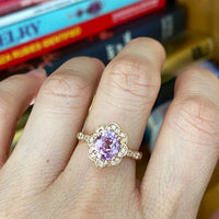 Lavender Purple Sapphire Engagement Ring Rose Gold Vintage Floral Diamond Ring La More Design Jewelry