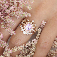 Lavender purple sapphire engagement ring diamond stacking ring set rose gold by la more design jewelry