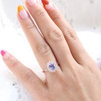 Lavender purple sapphire engagement ring rose gold in double halo diamond ring by la more design jewelry