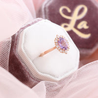 Lavender purple sapphire engagement ring rose gold in halo diamond cluster ring by la more design jewelry