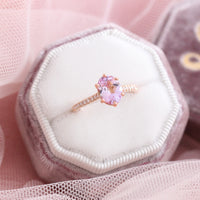 Lavender purple sapphire engagement ring rose gold solitaire pave diamond ring by la more design jewelry