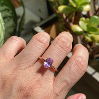 Lavender purple sapphire engagement ring rose gold low profile solitaire ring la more design jewelry