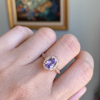Lavender purple sapphire engagement ring rose gold vintage halo diamond ring la more design jewelry