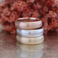 Mens Wedding Band 6mm Domed Matte Ring Solid 14k Rose Gold His Comfort Fit Wedding Ring by la more design