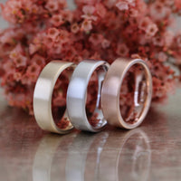 Mens Wedding Band 6mm Flat Matte Ring Solid 14k Rose Gold His Comfort Fit Wedding Ring by la more design