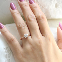 Moissanite Diamond Engagement Ring in Rose Gold Low Profile Solitaire Ring by La More Design Jewelry