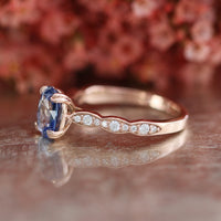 Natural Ceylon Sapphire Solitaire Ring in 14k Rose Gold Scalloped Diamond Band, Size 6