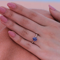 Natural Ceylon sapphire engagement ring in 14k rose gold by la more design