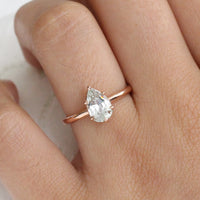 Natural Seafoam Green Sapphire Engagement Ring in Rose Gold Pear Solitaire Ring by La More Design Jewelry