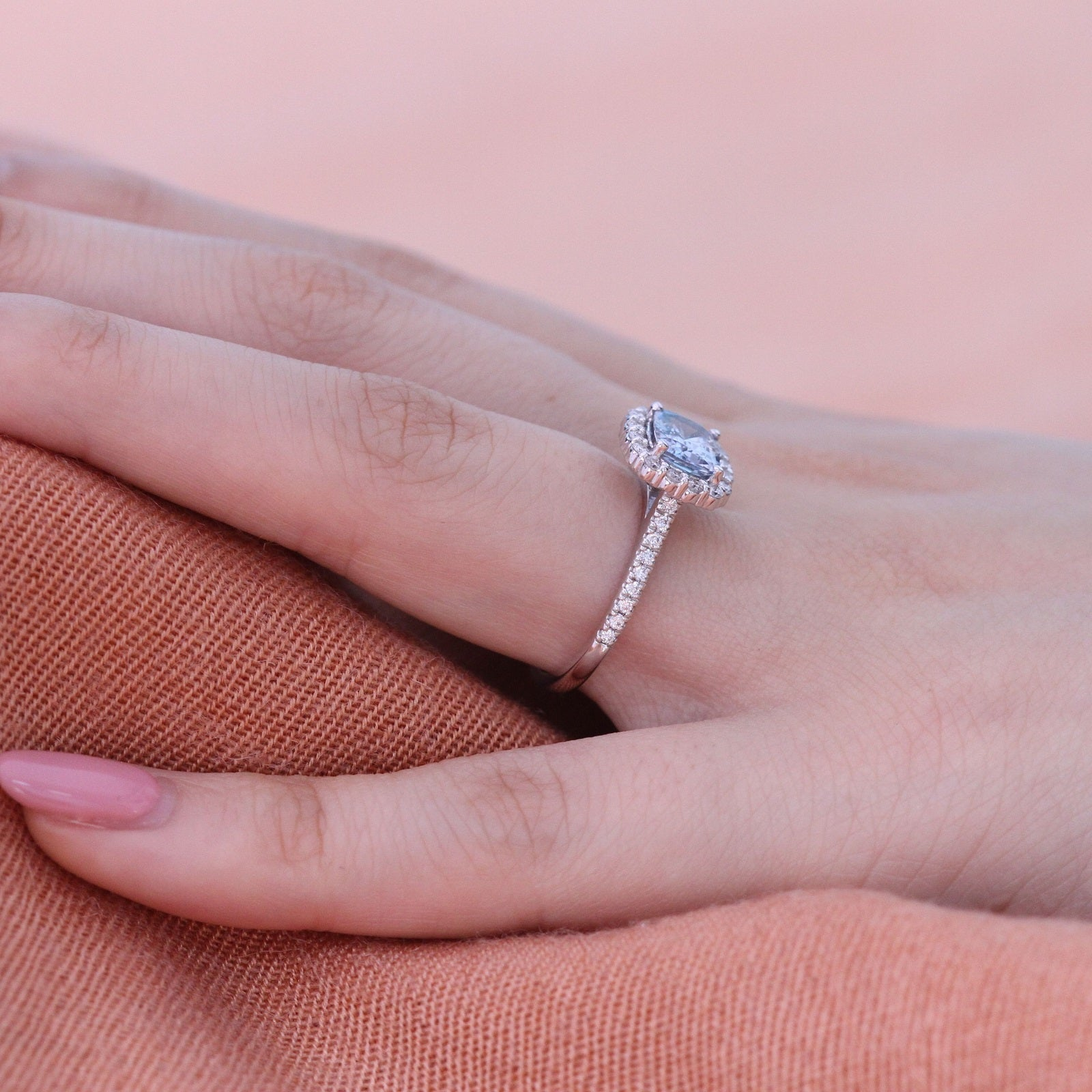Natural Blue Sapphire Ring in 14k White Gold Halo Diamond East West ...