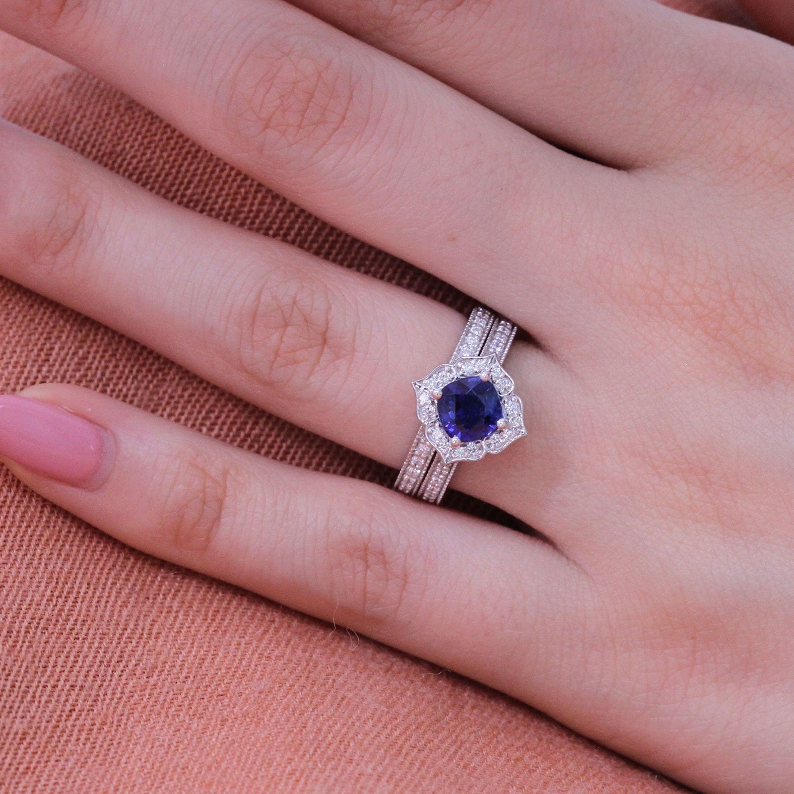 Natural Blue Sapphire Ring Bridal Set in 14k White Gold Vintage ...