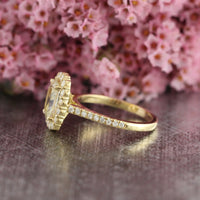 Natural champagne yellow sapphire engagement ring in 18k yellow gold by la more design